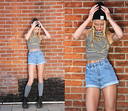 Lauren J - Diy Denim Shorts, American Apparel Aa Turtle Neck Tank, Diamond Supply Co Black Beanie, Doctor Martens Platform Docs - Talk that talk