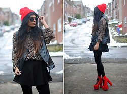 Kavita D - Love Leopard Print Shirt, Thrifted Sleeveless Leather Gilet, Romwe Black Skater Skirt, Ebay Red Beanie, Zerouv Circle Sunglasses, Unif Red Hellbounds - Heart Attack.