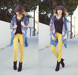 Dani Roxanne - Sheinside Pattern Sweater, Bdg Yellow Corduroy Pants, Steve Madden Lace Up Boots, Buffalo Exchange Studded Headband - Pattern & Color