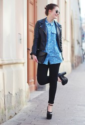 Marie Schöniger - Axparis Denim Shirt, Missguided Heels, Ray Ban Sunglasses - Denim shirt