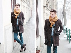 David M - Zara Oversize Knit Scarf, Zara Wool Coat - THE WAY WE TALK