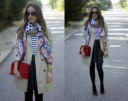 Besugarandspice FV - Zara Trench, H&M Skirt - Trench & Stripes