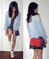 Giovanna C. - Blue Jean Jacket, Red Purse, White Shoes, Flower Print Dress - This town will make you crazy