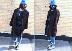 Kadeem Johnson - Vintage Coat, Acne Studios Sweater, Levi's® 501® Original Fit Jeans, Bstore Shoes - Levi Slicking