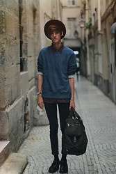 Florentin Glémarec - Clarks Leather Boots, Cheap Monday Black Pants, H&M Backpack, Asos Sweaters - Pass this on