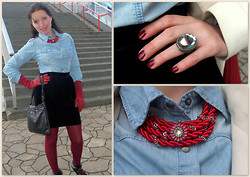 Irina Welker - Diy Necklace, Mango Skirt - Red&Denim