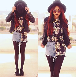 Bernadette F - Hat, Leather Jacket, Printed Shirt, Creepers, Sunnies - WILD CHILD