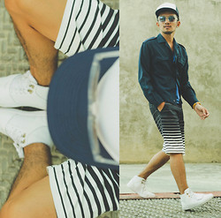 Yves Camingue - Freego Graphic Striped Shorts, Yves Saint Laurent Day Twill Jacket, Folded & Hung Tinted Sunglasses, Creative Recreation White Leather Hi Tops, Fiesta Mall Mesh Trucker Cap - Plumberbum
