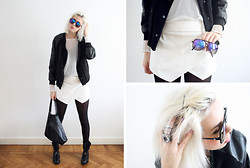 Sietske L - Zara Shorts, Le Specs Sunnies, H&M Ring, Choies Bomber Jacket, H&M Mesh Top - Purple details
