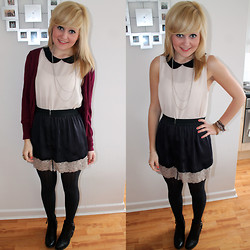 Sophie Hampton - Topshop Lace Skirt, H&M Peter Pan Collar Top, H&M Ankle Boots, M+S Jumper - Sheer lace + peter pan collars