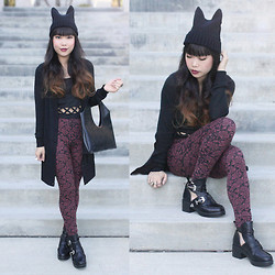 Toshiko S. - Frontrowshop Cat Beanie, Delirious Long Cardigan Sweater, Charlotte Russe Criss Cross Cut Out Crop Tank, Buffalo Exchange Vintage Avant Garde Embossed Ornate Handbag, Shosho Ornate Leggings, Tobi Rebel Scholar Booties - Mew Mew