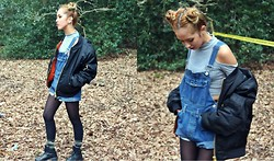 Diane Landers - No Boundaries Dungarees, Topman Bomber Jacket Black, Boohoo Grey Cut Out Crop Top, Unif Cross Trainer Shoes - Diz Is Why I'm Hot! I Don't Give a Fa*k