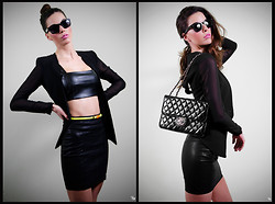 Daisy O - Ray Ban Sunglasses, Asos Sheer Arm Blazer, Zara Leather Crop Top, Zara Leather Skirt, Chanel Quilted Bag, Primark Neon Skinny Waist Belt - Top of the Crops