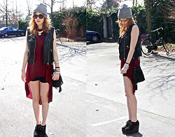 Karolina L. - H&M Beanie, H&M Leather Vest, Primark Assymmetrical Top, Zara Black Satin Short, Creepers, Primark Small Bag - Stuck In Reality