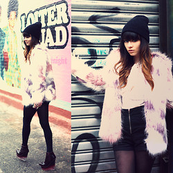 Rachel-Marie Iwanyszyn - Urban Outfitters Beanie, Romwe Fur Coat, Jeffrey Campbell Wedges, Http://Www.Jaglever.Com - LOITER SQUAD.