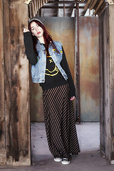 Alexa Puzderová - Levi's® Diy Studded Jean Vest, Urban Outfitters Nirvana Sweater, Apostrophe Striped Maxi Skirt, Converse Black Low Rise, American Apparel Beanie, Punk English 77 Studs, Blitzkrieg Buttons - Load Up On Guns