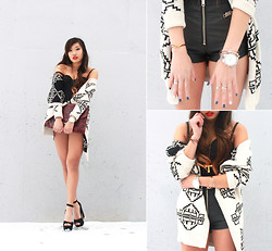 Christine Hsu - Urban Outfitters Aztec Cardigan, Unif Leather Shorts - CLARITY