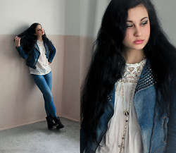 Vitaliya Nadezhdina - Zara Denim Jacket, Topshop Shirt With Lace - Again, Blue Jeans, White Shirt.