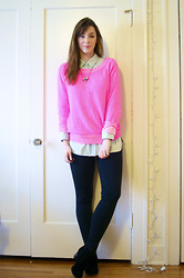 Kelly M. - Forever 21 Chambray Button Down, Gap Neon Sweater, Mossimo Ankle Boots, Forever 21 Studded Necklace - Cozy neon