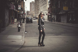 Cecily Richardson - Jeffrey Campbell Litas, Gap Black Denim, Forever 21 Leather Jacket - Lower east side