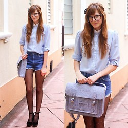 Steffy Degreff - Tea And Tulips Vintage Blouse, Chic Wish Felt Bag - Denim days.
