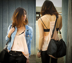 Christine Y - Brandy Melville Usa Tank Top, H&M Denim Jacket, Alexander Wang Rocco Handbag, H&M Leather Pants - Denim over Cami