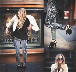 Cecily Richardson - Alythea Hi Low Blouse, Bdg Printed Pants, Vintage White Leather Jacket, Jessica Simpson Heels - Butler, please
