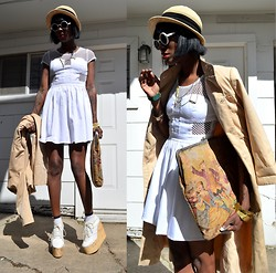 VintageVirgin Jessica - Supermuse Ideal Day Dress, Vintage Trench Coat, Vintage Revolution Oversized Clutch, Deandri Olga Wedge Boots, Vintage Straw Hat, White Round Sunnies, Myrrh Necklace, Nasty Gal Gold Pyramid Bangles - COUNTRY CLUBBIN'