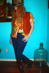 Ashley W - Thrift Store Vintage Shirt, Thrift Store Leather Vest, Thrift Store Hat - Island Getaway