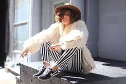 Christina Caradona - Similar Vintage Fur Jacket, Hudson - Stripes and Fur