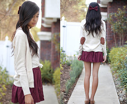 Megan H - Forever 21 Cardigan, American Apparel Bow, Brandy Melville Usa Skirt, Urban Outfitters Lace Tank Top, Oxfords - Give me love