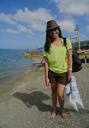 Jo Dianne R - Sm Department Store Brown Fedora Hat, Thirft Store Big Neon Top, Old Navy Brown Shorts, Big Black Backpack, Unisilver Watch, Havaianas Flip Flops, Sunnies - Summer Heat
