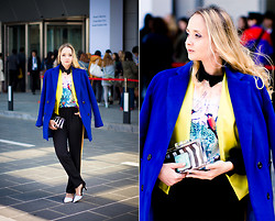 Olga Choi - Sheinside Coat, Sheinside Blouse, Vivilli Blazer, Zara Clutch Bag, Zara Heels - Seoul Fashion Week