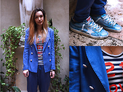 Volpi Donna Modena - 5 Preview Shirt, Golden Goose Deluxe Brand Sneakers, 5 Preview Pants, Volpi Donna Blazer - Blue