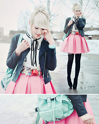 Kerti P. - Leather Jacket, Blouse, Mint Bag, Helen Valk Varavin Floral Headband, Boots, Selfmade Skirt, Daniel Wellington Mint Watch - Sugary smell of springtime.