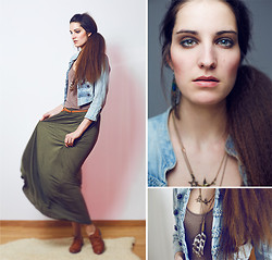 Debora H - H&M Maxi Skirt, H&M Jeans Blazer, Wandering Lilly Feather Necklace, Vintagenow Bird Necklace - Maxi