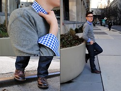 Ryan Charchian - Levi's® 501, Dr. Scholl's Wingtip Boots, J. Crew Button Down, J. Crew Crew Neck Sweater - Traces of spring in 501