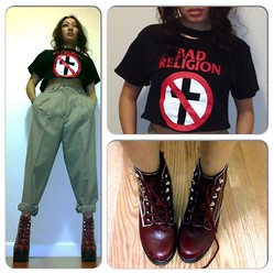 Vintage Mantra - Diy Bad Religion Crop Top, Jeffrey Campbell Tardy, Vintage Pants - Infected