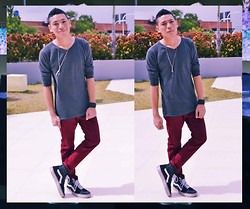 Renz C - Gap Grey Sweater, Giordano Red Jeans, Vans Classic Hi Sk8, People Are Dogtags - Never Growing Up