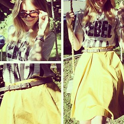 Hayley (FashionAndMe) - Boden Floaty Skirt, Clash Boutique Rebel Tee, Toms Kitty Shades - Sunshine Rebel