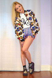 "Chloe Farrell - @Shutterbug Vintage Tennis Print Jacket, @Thesilverfactory Fringed ""The End"" Top, Topshop Denim Moto Shorts, Topshop Sparkled Socks, @Underground Purple Creepers - The End..."