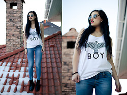 Vitaliya Nadezhdina - Boy London Vest, H&M Boots, Asos Sunnies, Mango Jeggins - Just a boy.