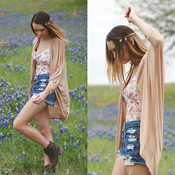 Madeline Becker - Forever 21 Floral Leotard, Urban Outfitters Distressed Shorts, Tart Cardigan - LET HER FLY