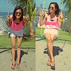 Bianca Bonilla - Oxygen Neon Tank Top, Jordache White Shorts, Police Mom's Vintage Sunglasses - Hot Summer Day