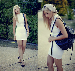 Jiawa Liu - Asos Beanie, Guess? Backpack, Zara Heels - The Little White Dress