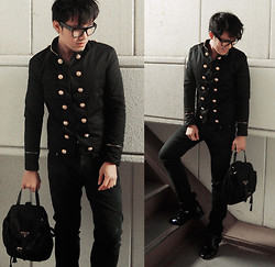 KIKO CAGAYAT - Korean Double Breasted Embellished Stand Collar Casual Blazer For Men, Prada Back Pack - High School Again