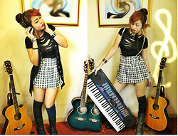 Star Camacho - Mint Clothing Philippines Ripped Black Shirt, Sportsgirl Corduroy Open Button Sleeveless Dress, Checkered Skirt With Suspenders, Born Crown Edition Handcrafted Black Leather Boots - When music unites us