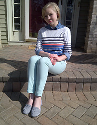 Alexandra Senycia - Striped Shirt, Denim Button Down, Ice Blue Jeans, Pearl Loafers - Inspired by pastels.
