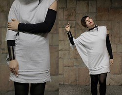 Milica Stojsic - Self Made Diy Zipper Sweatshirt Tunic, Terranova Cold Shoulder Black Top, Asos Armour Cuff - Evening Ceremony