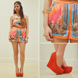 Raizelle So - H&M Halter Top, H&M Silk Shorts, Parisian Shoes Wedge Pumps - Orange You Glad